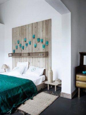 diy wood headboard and wonderful color