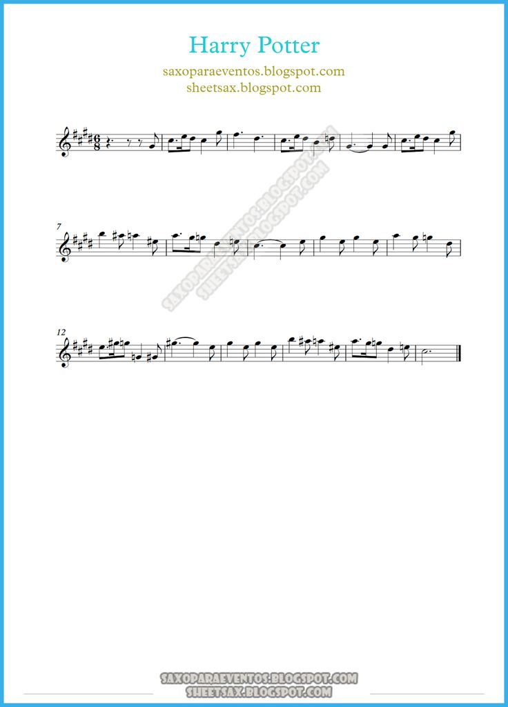 harry potter sheet music free | MUSIC SCORE OF HARRY POTTER THEME FOR SOPRANINO SAXOPHONE, ALTO SAX ...