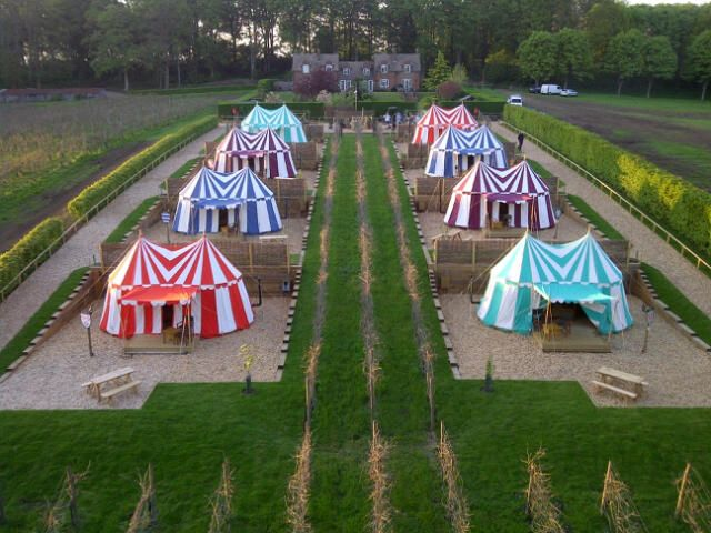 Ariel shot of the #glamping site at #LeedsCastle