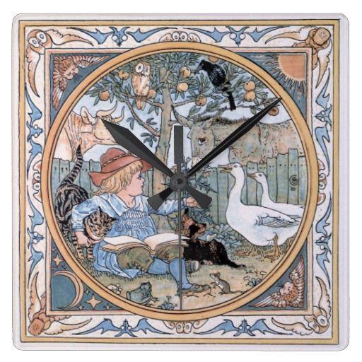 Victorian Vintage Walter Crane illustration: The child, the farm animals clocks for the kids' room