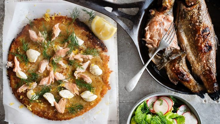 Potato rosti with oven-baked rainbow trout and creme fraiche recipe