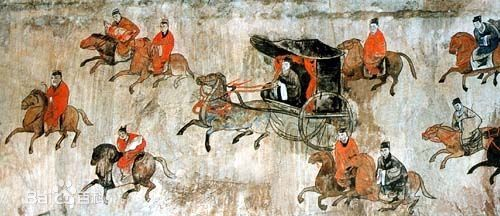 An Eastern Han (25-220 AD) mural showing a procession of chariots and cavalry, from the Dahuting Tomb of Zhengzhou, Henan province, China