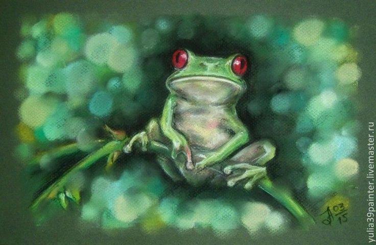 Купить Древесная лягушка - болотный, лягушка, сказка, детская, пастель, животные, подарок ребенку