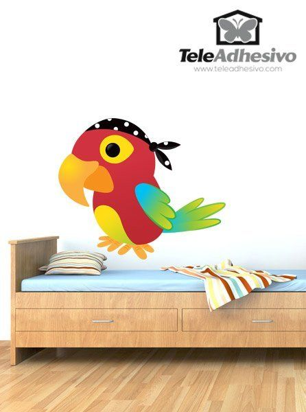 Vinilos Infantiles: Loro pirata #vinilo #pared #piratas #loro #bucanero #grumete #habitacion #decoracion #infantil #TeleAdhesivo
