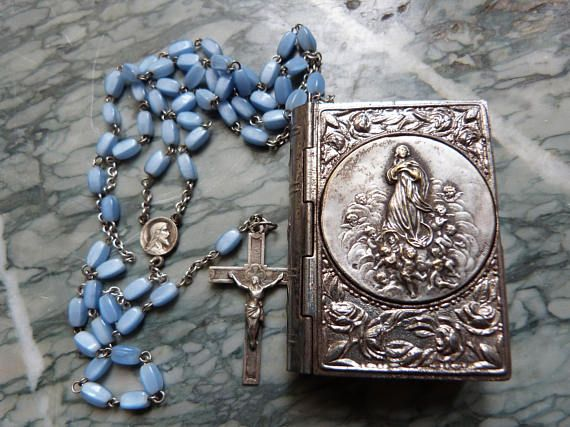 Antique French religious blue glass beaded christening rosary necklace w crucifix cross miraculous medal in box w Holy virgin Mary w cherubs... Fast Service #virginmary #beadednecklace #holycross