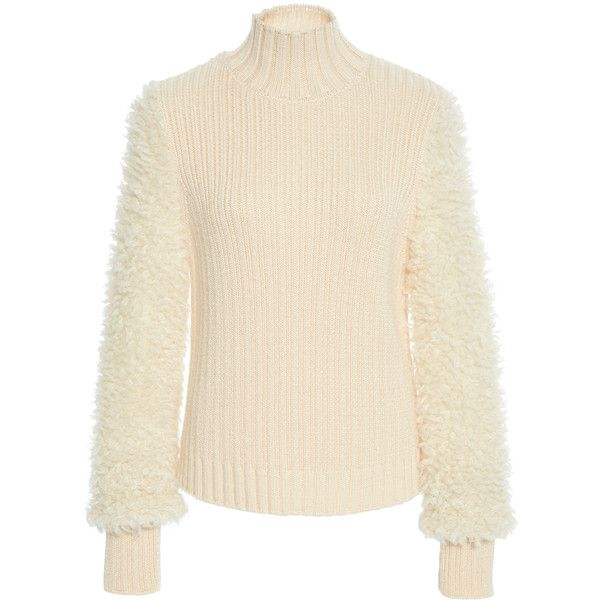 Carven     Textured Sleeve Sweater (28.325 RUB) ❤ liked on Polyvore featuring tops, sweaters, neutral, short-sleeve turtleneck sweaters, turtleneck sweater, polo neck sweater, sleeve sweater and carven sweater