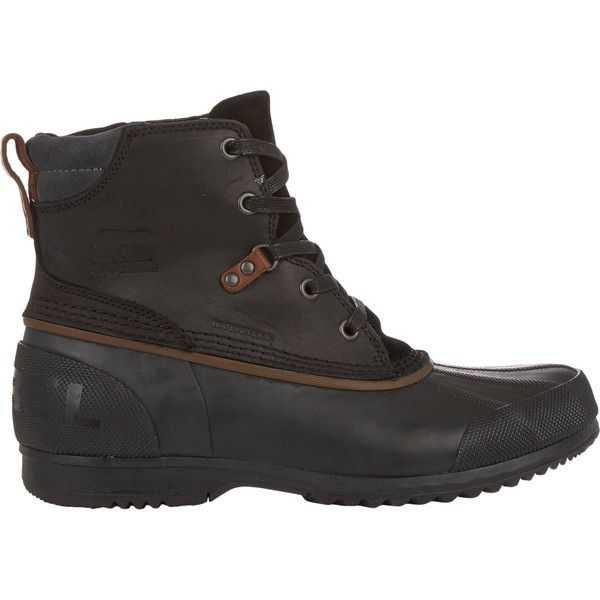 Sorel Men's Ankeny™ Mid Boots featuring polyvore, men's fashion, men's shoes, men's boots, black, mens lace up shoes, mens lace up boots, mens waterproof leather boots, mens black lace up boots and sorel mens boots