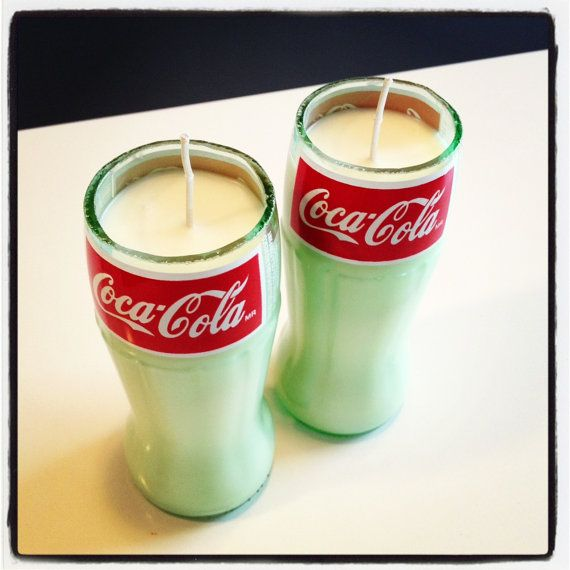 Set of Two Hand Poured Cola Scented Soy Candle in Cut Coca-Cola Glass Bottle