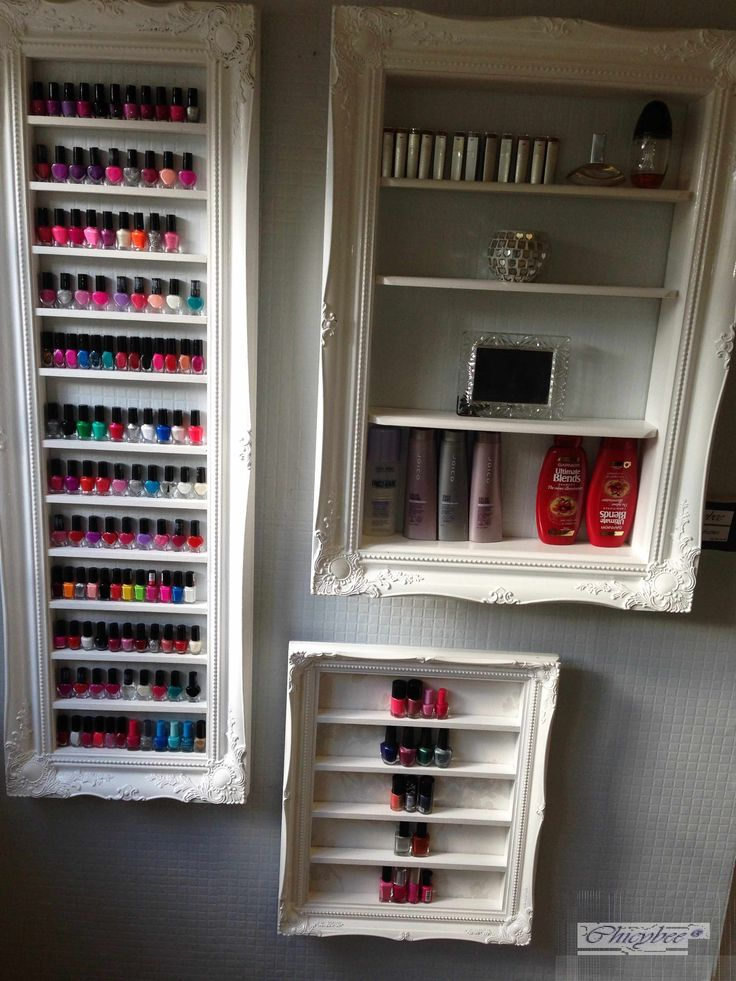 <p>White glosss Baroque nail polish display frame - space saving  style...very elegant</p> <p>This very large mirror style display frame is great if your salon has run out of space. It can sit tidily on the wall in a mirror width space and alth