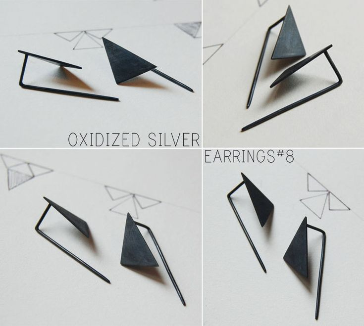 Oxidized silver geometrics pendants earrings Les by AgJc on Etsy