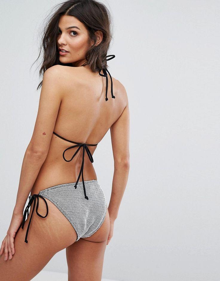 ASOS Chain Mail Effect Triangle Bikini Top - Silver