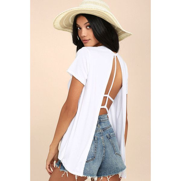 Backstory White Backless Tee ($28) ❤ liked on Polyvore featuring tops, t-shirts, white, open back tops, short sleeve t shirt, strappy top, backless tops and white strappy top