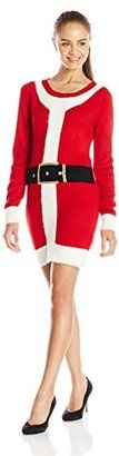 Blizzard Bay Juniors' Christmas Naughty Santa Suit Tunic Sweater Dress - Shop for women's Sweater - Red Sweater
