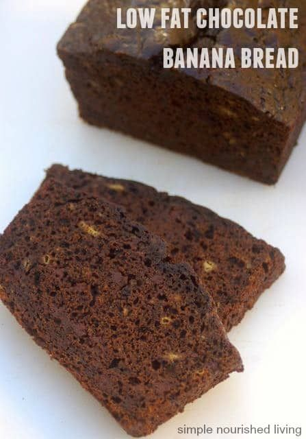 Low Fat Chocolate Banana Bread, moist, rich and dense with cocoa and chocolate chips makes a great dessert, 193 calories, 5 Weight Watchers Points Plus