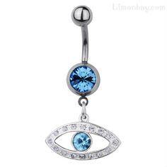 Aleja la mala suerte y la envidia con este amuleto talimán Ojo Turco, Piercing de ombligo con protector colgante de cristal de circonio.