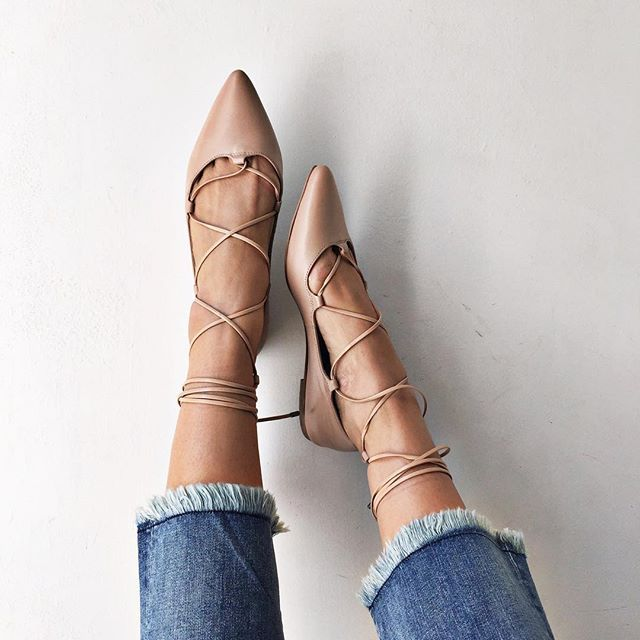 Nude Flats - pointed toe nude lace up flats