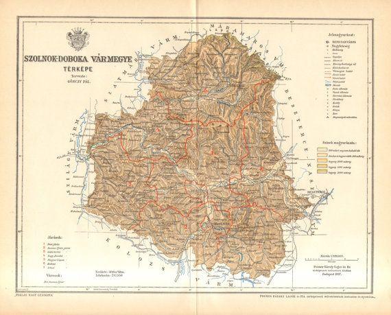 1897 Original Antique Map of Szolnok-Doboka County, Austro-Hungarian Empire