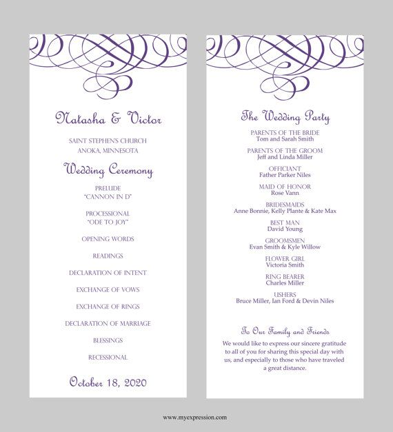 Wedding Program Template Tea Length Flourish By Myexpression 7 95