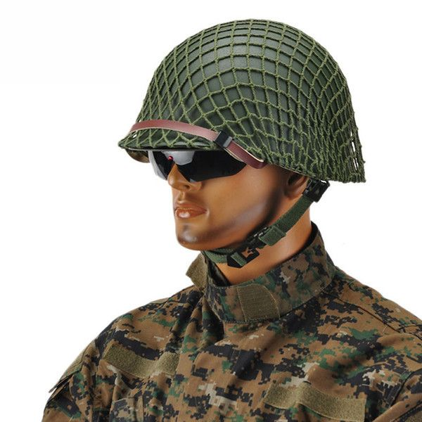 Fans of the army Repro Men's WW2 US Army M1 Helmet Stainless Steel Army Green with Camouflage Net