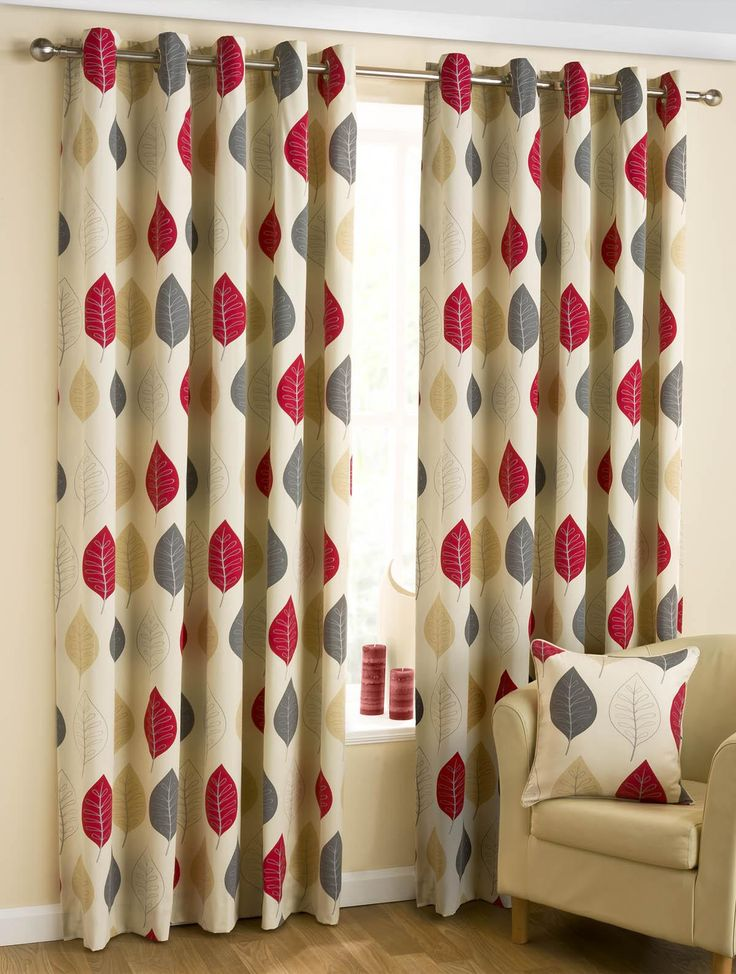 Mia Red Leaves Print Eyelet Ready Made Curtains Size Options Available Free UK Delivery On Orders Over