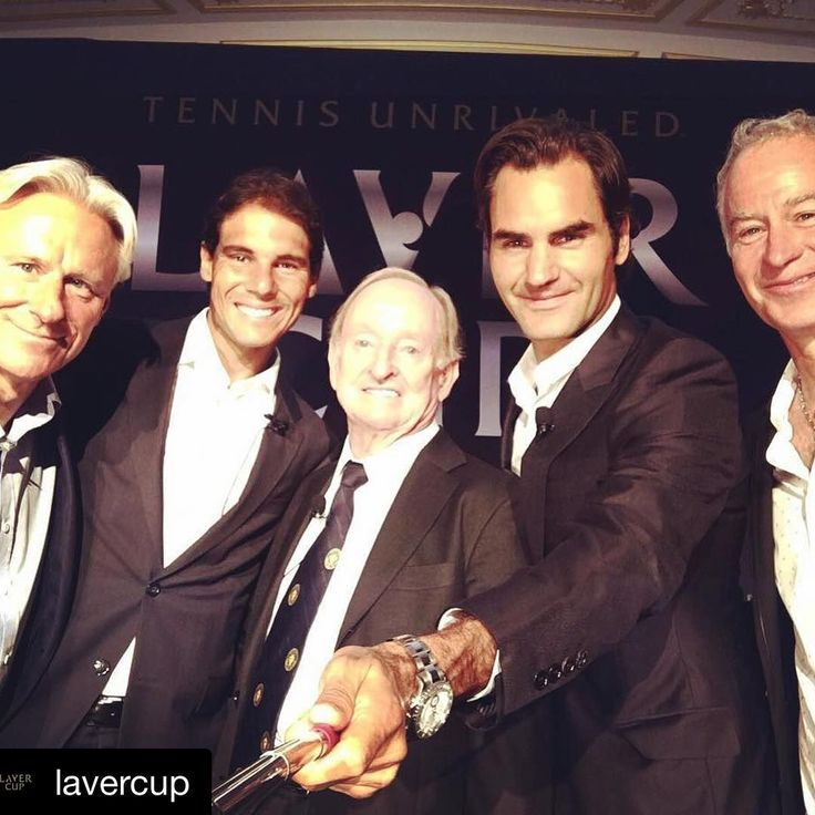 Is this the best selfie you've seen in a while? #lavercup #fedal #federer #nadal #mcenroe #bjornborg #rodlaver
