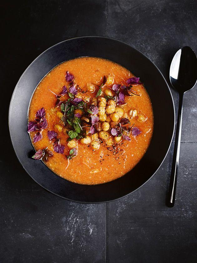 sweet potato and harissa soup with tahini and crispy chickpeas.