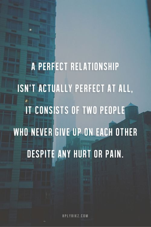 A perfect relationship isn`t actually perfect at all.  It consists of two people who never give up on each other despite any hurt or pain.