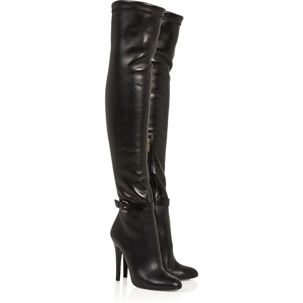 Jimmy Choo Tamba stretch-leather over-the-knee boots ($705) ❤ liked on Polyvore featuring shoes, boots, saappaat, jimmy choo, sapatos, high heels, black, high heel boots, over-the-knee leather boots and thigh-high boots