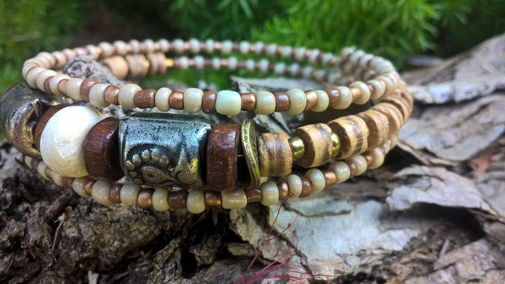 Ethnic African Beaded Memory Wire Bracelet, Bohemian Bracelet, Stack Bracelet, AhyokaByBernice on Etsy, Gypsy Jewelry, Made in South Africa by AhyokaByBernice on Etsy