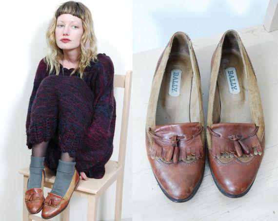 90s Vintage BALLY Fringe SHOES Loafers Tan Leather FRINGED Wingtip Moccasins Slip-on Flats Tassels size 38 - us 7-7.5. $39.00, via Etsy.
