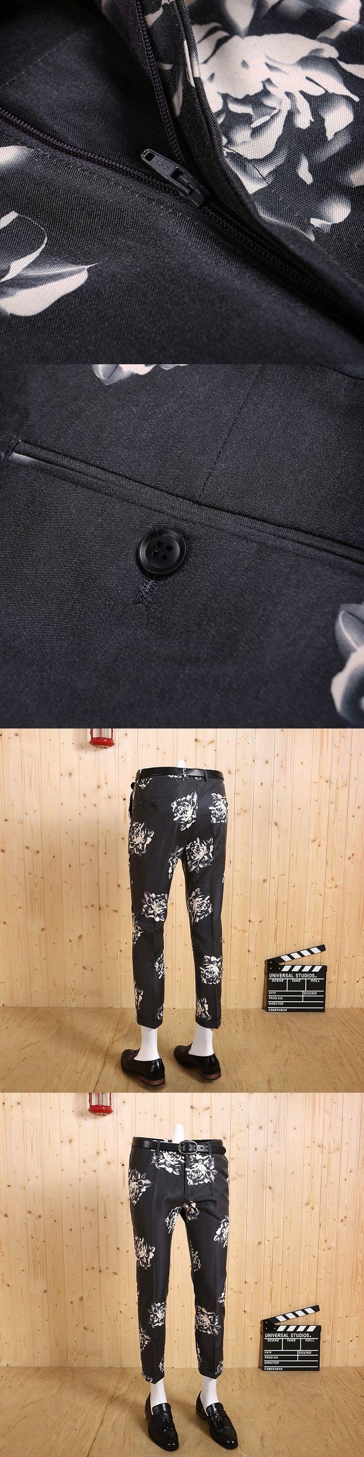 2017 new high quality men's deep grey rose printed smart super slim casual slim business wedding groom suits pants man pant