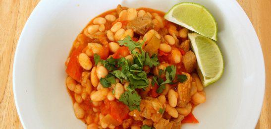 Witte bonen chili. Een recept met witte bonen dat je zo heet kunt maken als je zelf wilt.