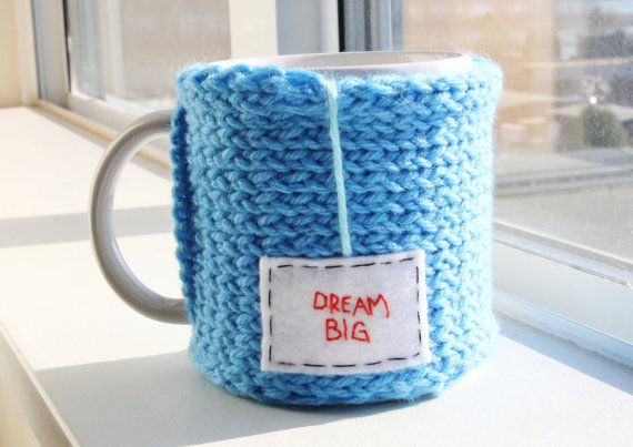 Dream Big.  For you might start a knitting business ;) // Azure Blue Handmade Knitted Snug Mug Warmer Cozy by OnanaKnits, $15.75 // Find out more at our Etsy store! OnanaKnits.etsy.com #knitting #cosy #cozy #mugcozies #cupcozy #onanaknits #coffeesleeves #coffee #tea #handmade