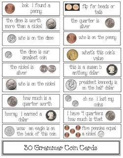 Money-coin activities: 30 FREE coin-themed grammar cards. Use as an ...