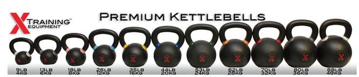 X-Training KettleBells (1 each) 9lb/4kg, 13lb/6kg, 18lb/8kg, 26lb/12kg, 35lb/16kg, 44lb/20kg, 53lb/24kg, 62lb/28kg, 70lb/32kg, 80lb/36kg, 88lb/40kg, 97lb/44kg