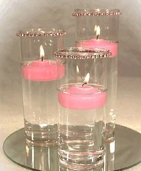 floating candles with a little bling - This would be beautiful around the weight loss jars - LOVE pink :)