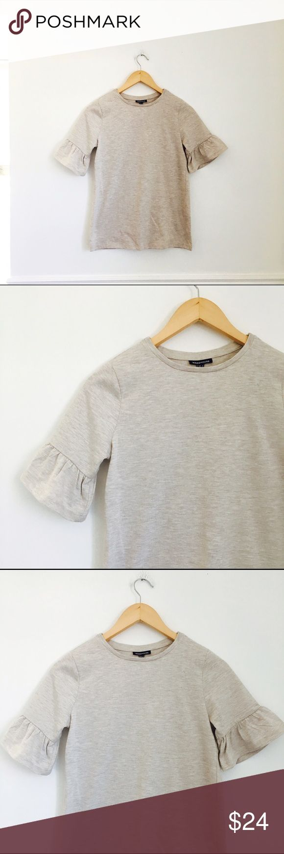 Asos top Oatmeal tee with bell sleeves in cotton and polyester. Size 2. ASOS Tops