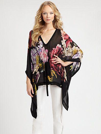 Roberto Cavalli - Silk Chiffon Floral Print Caftan Blouse - Saks.com