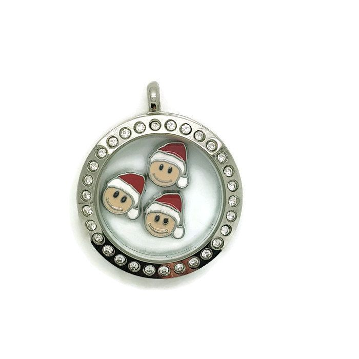 Santa Floating Charms, Christmas Floating Locket Charms, Holiday Gift, Floating Locket Necklace by LittleBitsOfBling on Etsy