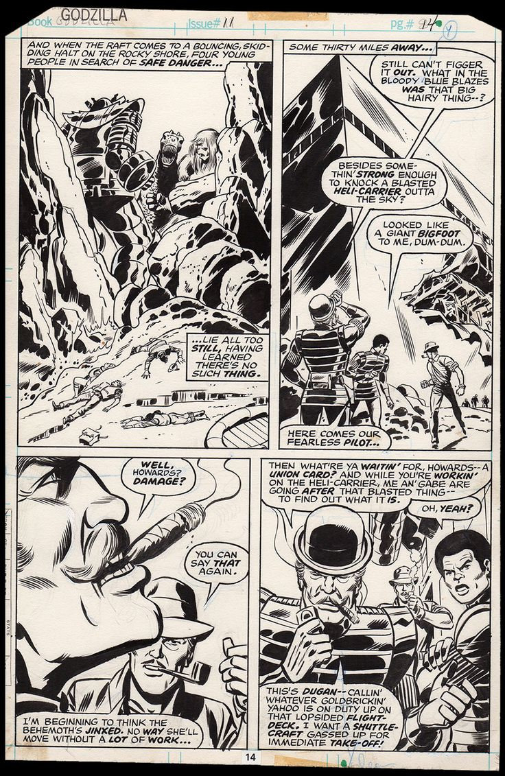 Godzilla #11 Art by Herb Trimpe red Ronin Dum Dum Dugan SHIELD