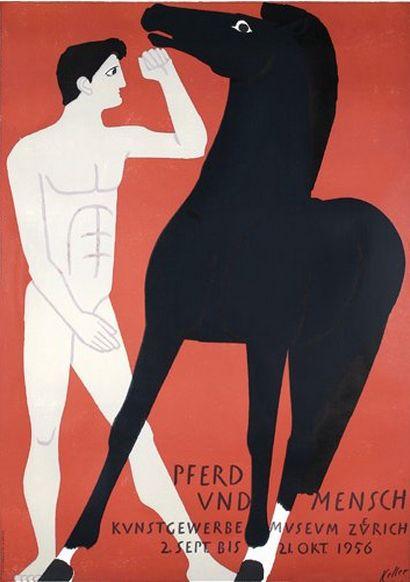Ernst Keller (1891-1968), 1956, Pferd und Mensch Lithograph. #Swiss
