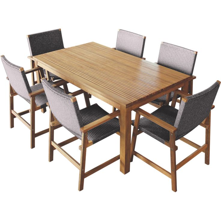 Outdoor Table And Chairs Set Bunnings: Mimosa 7 Piece Elwood Timber Setting With Wicker Chairs I