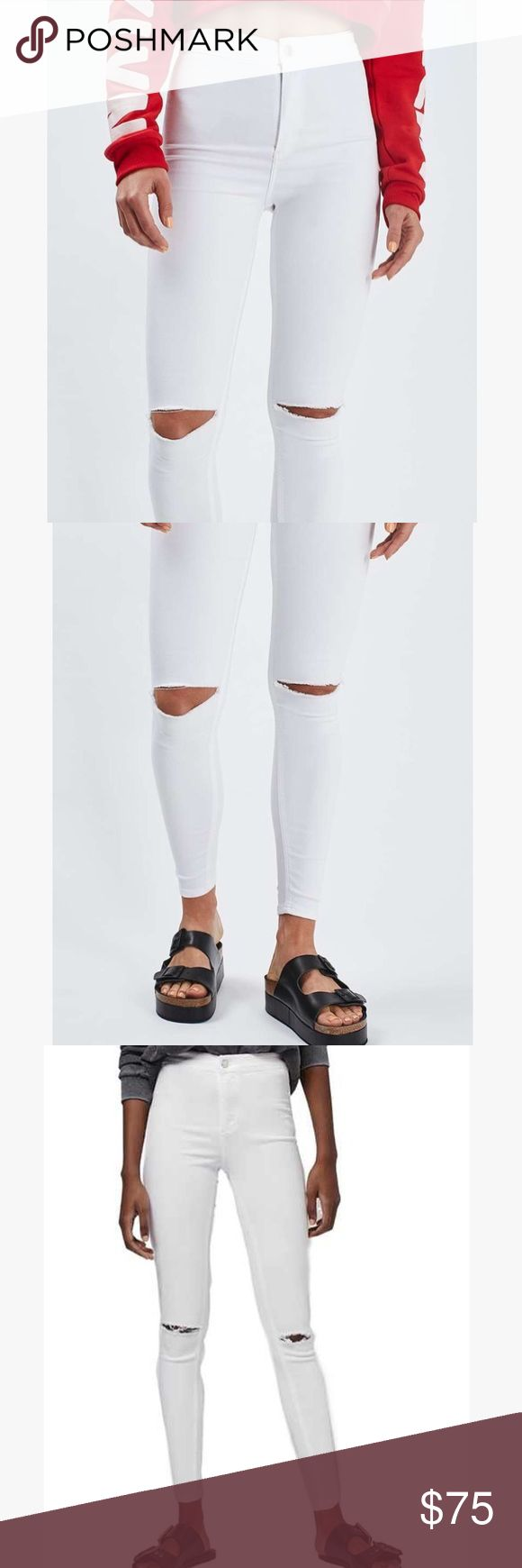 Topshop Joni White Ripped Jeans NWOT! I only wore these for 2 hours! Topshop white ripped jeans W28 L30. Sold out at Topshop, Joni style, high waisted! Topshop Pants Skinny