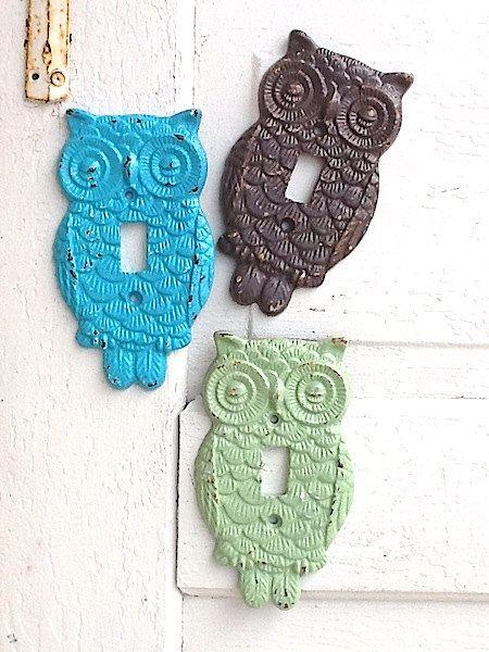 Owl Switch Plate French Farmhouse Aqua Decor by CamillaCotton