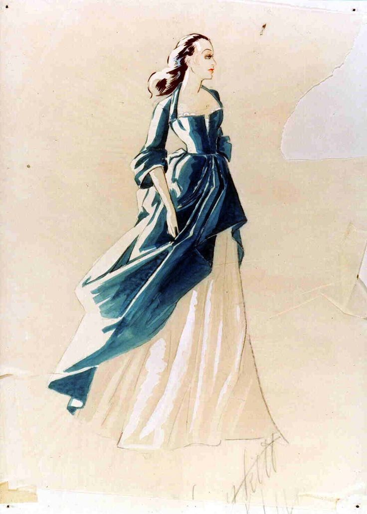 Costume design by Walter Plunkett for Vivien Leigh in the final scene of Gone With the Wind (1939), which was eventually cut from the film. The dress can still be seen in silhouette in the final pullback shot.    From TCM