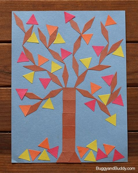 fall crafts for kids: create fall trees using paper shapes~ BuggyandBuddy.com