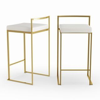 Marvelous Silver Orchid Forrest Gold Stackable Counter Stool Set Of 2 Gmtry Best Dining Table And Chair Ideas Images Gmtryco