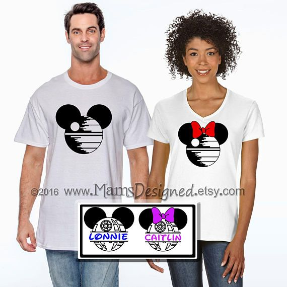 "Death Star Mouse Ears Disney Parody ""Split"" Mickey or Minnie Personalized T-shirt 