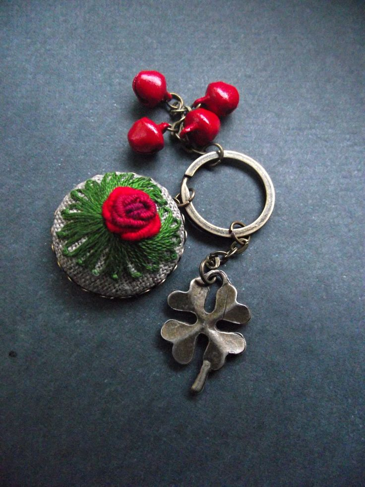 Hand embroidered charm, embroidered keychain, with four-leaved clover by ZoZulkaart on Etsy
