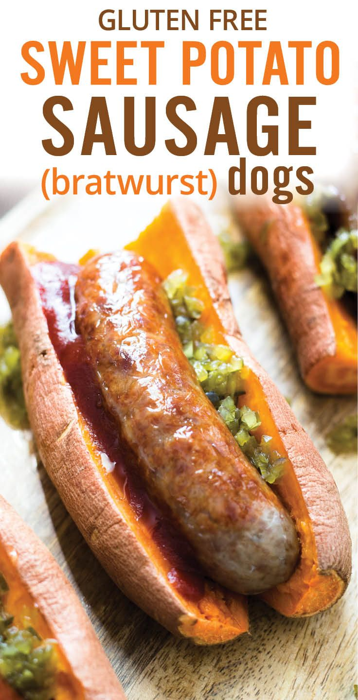 Gluten free and low carb eaters can enjoy these Sweet Potato Sausage Dogs. Seared bratwurst sausages on a tender sweet potato. A fun and healthy hot dog alternative. - www.platingpixels.com